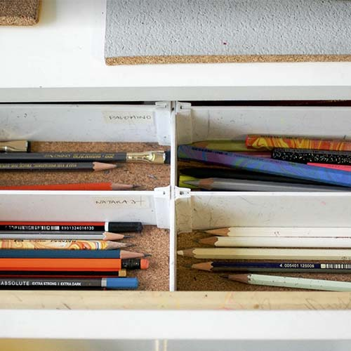Pencils in a drawer