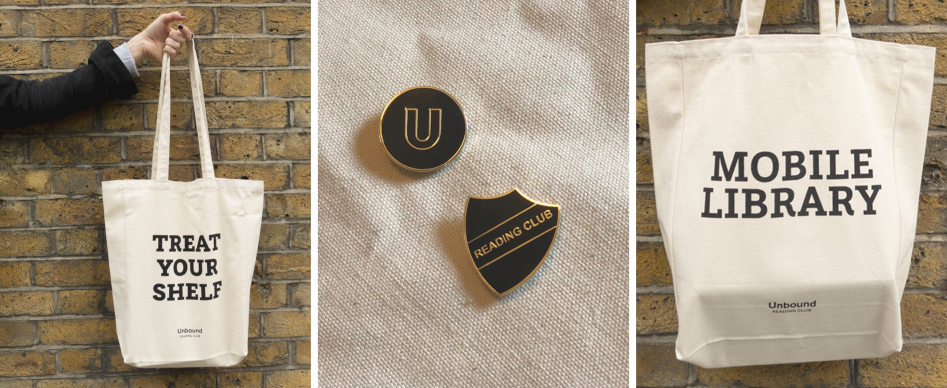 Our membership-exclusive merchandise: Unbound-themed tote bags and enamel pins.